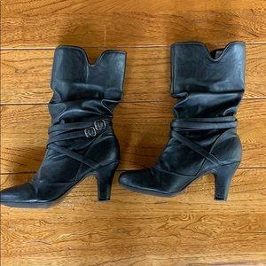 Black calf-height boots